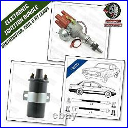 Ford Pinto Electronic Distributor OHC 4 Cyl Engine with Black 8mm Leads & Coil